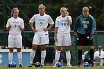 12 September 2009: North Carolina's Meghan Klingenberg (4), Whitney Engen (9), Rachel Givan (16), and Ashlyn Harris (18). The University of North Carolina Tar Heels defeated the Texas A&M University Aggies 2-0 at Fetzer Field in Chapel Hill, North Carolina in an NCAA Division I Women's college soccer game.