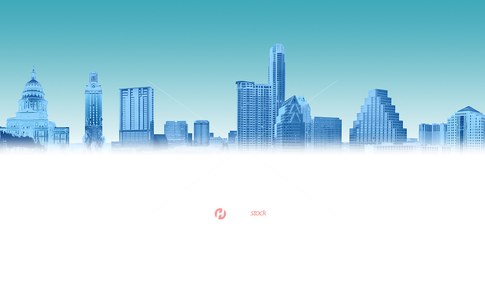 Austin prominent buildings featured, skyline, capital and university