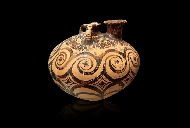 Minoan decorated stirrup jar with swirl design, Zakros Palace  1500-1400 BC; Heraklion Archaeological  Museum, black background.
