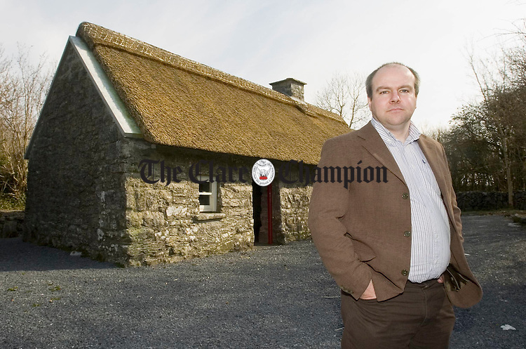 Paddy Maher, the newly appointed manager of the Michael Cusack Centre at Carron, outside the Cusack cottage on the complex. Photograph by John Kelly.