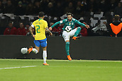 27th March 2018, Olympiastadion, Berlin, Germany; International Football Friendly, Germany versus Brazil; Marvin Plattenhardt  (Germany) brings down a high ball as Dani Alves  (Brazil) closes