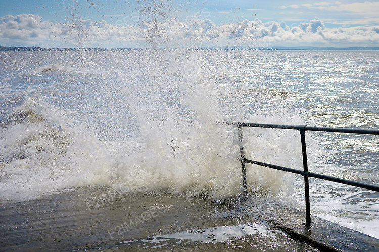 High Tide on a blustery sunny afternoon at Crosby Beach Merseyside.