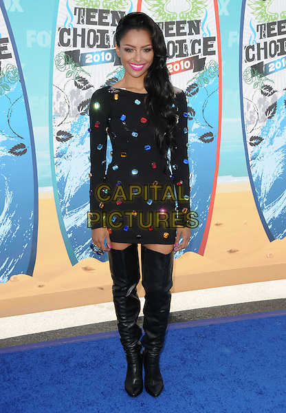 KATERINA GRAHAM.Fox Teen Choice 2010 Awards held at he Universal Ampitheatre in Universal City, California, USA..August 8th, 2010    .full length black dress long sleeves mini boots thigh high leather jewel encrusted embellished .CAP/RKE/DVS.©DVS/RockinExposures/Capital Pictures.