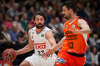 VALENCIA, SPAIN - FEBRUARY 28: Sergio Llull, Rafa Martinez during ENDESA LEAGUE match between Valencia Basket Club and Real Madrid at Fonteta Stadium on   February, 2016 in Valencia, Spain