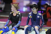 SCHAATSEN: HEERENVEEN: IJsstadion Thialf, 16-11-2012, Essent ISU World Cup, Season 2012-2013, Men 5000 meter Division B, David Andersson (SWE), Hyong-Joon Joo (KOR), ©foto Martin de Jong