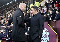 Burnley manager Sean Dyche (right) greets Everton manager Marco Silva ahead of kick-off<br /> <br /> Photographer Rich Linley/CameraSport<br /> <br /> The Premier League - Burnley v Everton - Wednesday 26th December 2018 - Turf Moor - Burnley<br /> <br /> World Copyright &copy; 2018 CameraSport. All rights reserved. 43 Linden Ave. Countesthorpe. Leicester. England. LE8 5PG - Tel: +44 (0) 116 277 4147 - admin@camerasport.com - www.camerasport.com