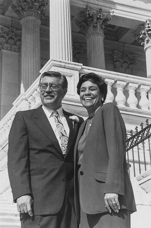Newly sworn-in Rep. Ed Pastor, D-Ariz., with wife Verma on House steps on Oct. 3, 1991. (Photo by Maureen Keating/CQ Roll Call via Getty Images)