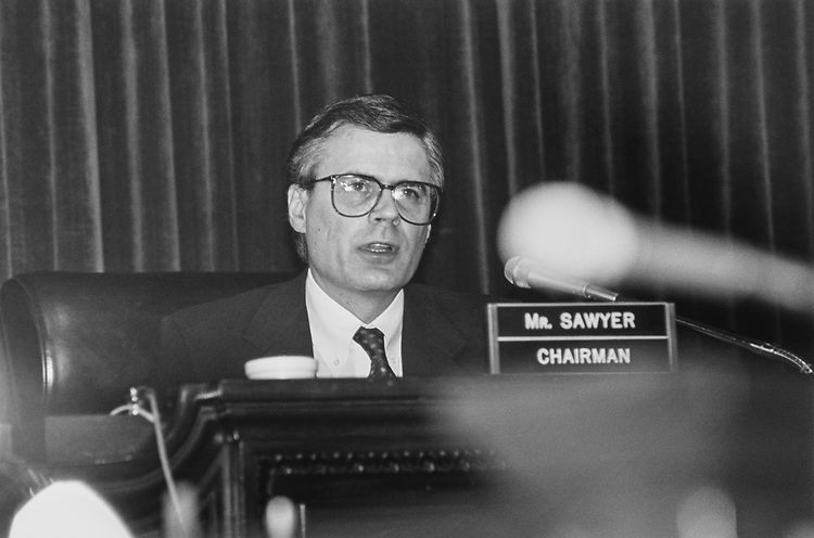 Rep. Thomas C. Sawyer, D-Ohio, at a Census hearing, on Dec. 12, 1991. (Photo by Laura Patterson/CQ Roll Call via Getty Images)