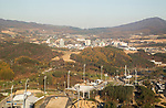 Alpensia Cross-Country Centre, Oct 30, 2017 : Alpensia Cross-Country Centre (bottom L) in Alpensia Olympic Park of the 2018 PyeongChang Winter Olympics and cityscape are seen in PyeongChang, east of Seoul, South Korea. The 23rd Winter Olympics will be held for 17 days from February 9 - 25, 2018. The opening and closing ceremonies and most snow sports will take place in PyeongChang county. Jeongseon county will host Alpine speed events and ice sports will be held in the coast city of Gangneung. (Photo by Lee Jae-Won/AFLO) (SOUTH KOREA)