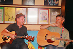 """Castmemter of Sunset Blvd. Roy Brown (Max Von Mayerling"""" and Brendan Ragotzy (producer of the show) entertain after the musical at the rehearsal shed on September 2, 2011 at the Barn Theatre in Augusta, Michigan. (Photo by Sue Coflin/Max Photos)"""