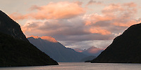 Sunset in First Arm of Doubtful Sound, Fiordland National Park, UNESCO World Heritage Area, Southland, New Zealand, NZ