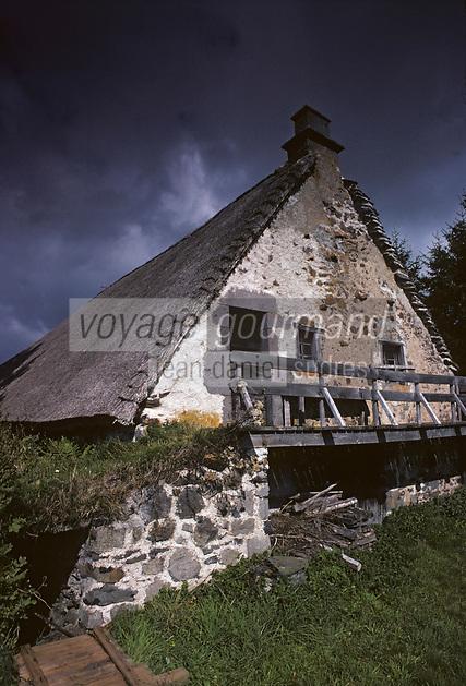 Europe/France/Auverne/63/Puy-de-Dôme/Env. de Besse-en-Chandesse: Buron au toit de chaume