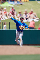 Iowa Cubs third baseman Stephen Bruno (11) throws to first base during a game against the Memphis Redbirds on May 29, 2017 at AutoZone Park in Memphis, Tennessee.  Memphis defeated Iowa 6-5.  (Mike Janes/Four Seam Images)
