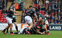 Leicester Tigers' David Denton is grounded by Newcastle Falcons' Adam Brocklebank, Tevita Cavubati and Gary Graham <br /> <br /> Photographer Stephen White/CameraSport<br /> <br /> Gallagher Premiership Round 2 - Leicester Tigers v Newcastle Falcons - Saturday September 8th 2018 - Welford Road - Leicester<br /> <br /> World Copyright &copy; 2018 CameraSport. All rights reserved. 43 Linden Ave. Countesthorpe. Leicester. England. LE8 5PG - Tel: +44 (0) 116 277 4147 - admin@camerasport.com - www.camerasport.com