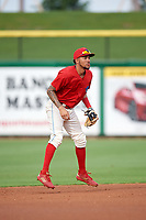 Philadelphia Phillies shortstop J.P. Crawford (12) during a game against the Florida Fire Frogs while on rehab assignment with the Clearwater Threshers on June 1, 2018 at Spectrum Field in Clearwater, Florida.  Florida defeated Clearwater 12-10.  (Mike Janes/Four Seam Images)