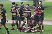Bombay players congratulate Tyson Ngamu after scoring a try. Counties Manukau Premier Club Rugby game between Papakura & Bombay played at Massey Park Papakura on Saturday May 30th 2009..Bombay won 57 - 7 after leading 24 - 0 at halftime.