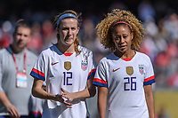 CHICAGO, IL - OCTOBER 06: Tierna Davidson #12 and Casey Short #26 of the United States during a game between the USA and Korea Republic at Soldier Field, on October 06, 2019 in Chicago, IL.