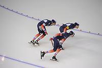 SCHAATSEN: CALGARY: Olympic Oval, 09-11-2013, Essent ISU World Cup, Team Pursuit, Benjamin Macé, Alexis Contin, Ewen Fernandez (FRA), ©foto Martin de Jong