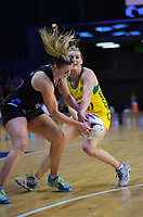 Gina Crampton and Gabi Simpson (right) compete for the ball during the Constellation Cup Series international netball match between the New Zealand Silver Ferns and Samsung Australian Diamonds at TSB Bank Arena in Wellington, New Zealand on Thursday, 18 October 2018. Photo: Dave Lintott / lintottphoto.co.nz