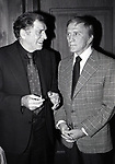 Burt Lancaster and Kirk Douglas attends A.T.A.S. at the Beverly Hills Hotel on February 1, 1982 in Beverly Hills, California.