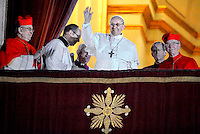New Pope Argentina's Jorge Bergoglio,Pope Francis of St Peter's Basilica's balcony on March 13, 2013