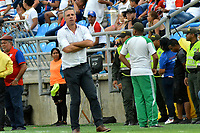 SANTA MARTA - COLOMBIA, 10-08-2019: Lucas Pusineri técnico del Cali gesticula durante el partido por la fecha 5 de la Liga Águila II 2019 entre Unión Magdalena y Deportivo Cali jugado en el estadio Sierra Nevada de la ciudad de Santa Marta. / Lucas Pusineri coach of Cali gestures during match for the date 5 as part Aguila League II 2019 between Union Magdalena and Deportivo Cali played at Sierra Nevada stadium in Santa Marta city. Photo: VizzorImage / Gustavo Pacheco / Cont