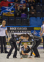 Glasgow. SCOTLAND.      Galina ARSENKINA, release's her &quot;Stone&quot; during the Women's Semi Final&quot; Scotland vs Russia.  Gruy&egrave;re European Curling Championships. 2016 Venue, Braehead  Scotland.<br /> <br /> Friday  25/11/2016<br /> <br /> [Mandatory Credit; Peter Spurrier/Intersport-images]
