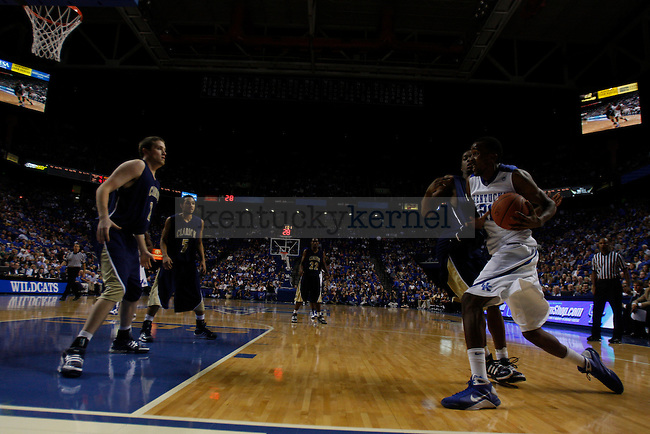 Senior Perry Stevenson drives to the basket in the second half of play against Clarion at Rupp Arena on Friday, Nov. 6, 2009. The Wildcats won 117-52 over the Golden Eagles. Photo by Scott Hannigan | Staff