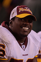 14 August 2004:  LaVar Arrington.  The Carolina Panthers defeated the Washington Redskins 23-20 in overtime in pre-season action August 14, 2004 at FedEx Field in Landover, MD.<br />