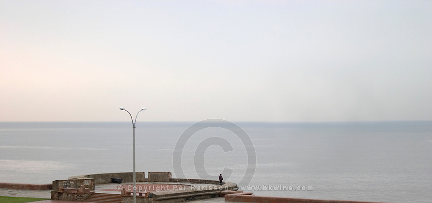 A view over the Rio de la Plata in Montevideo on a rainy day. A man alone standing on a viewing platform overlooking the water and the horizon line Rambla sur and Rambla Gran Bretagna along the River Rio de la Plata Montevideo, Uruguay, South America