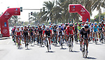 The peloton at Km0 for the start of Stage 2, The Capital Stage, of the 2015 Abu Dhabi Tour running 129 km from Yas Marina Circuit to Yas Mall, Abu Dhabi. 9th October 2015.<br /> Picture: ANSA/Claudio Peri | Newsfile