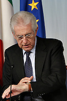 Mario Monti.Roma 6/12/2012  Plazzo Chigi Consiglio dei Ministri sul Decreto incandidabilita'.Photo Matteo Ciambelli / Insidefoto