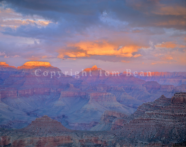 Sunset from South Kaibab Trail on South Rim of Grand Canyon, near Yaki Point, Grand Canyon National Park, Arizona, AGPix_0297.