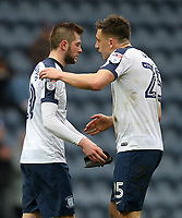 Preston North End's Tom Barkuizen is congratulated by  Jordan Hugill as he leaves the pitch<br /> <br /> Photographer Mick Walker/CameraSport<br /> <br /> The EFL Sky Bet Championship - Preston North End v Reading - Saturday 11th March 2017 - Deepdale - Preston<br /> <br /> World Copyright &copy; 2017 CameraSport. All rights reserved. 43 Linden Ave. Countesthorpe. Leicester. England. LE8 5PG - Tel: +44 (0) 116 277 4147 - admin@camerasport.com - www.camerasport.com