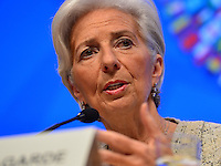 Washington, DC - April 14, 2016: Christine Lagarde, Managing Director of the International Monetary Fund, speaks to members of the media during a press availability at the IMF headquarters in the District of Columbia, April 14, 2016.  (Photo by Don Baxter/Media Images International)