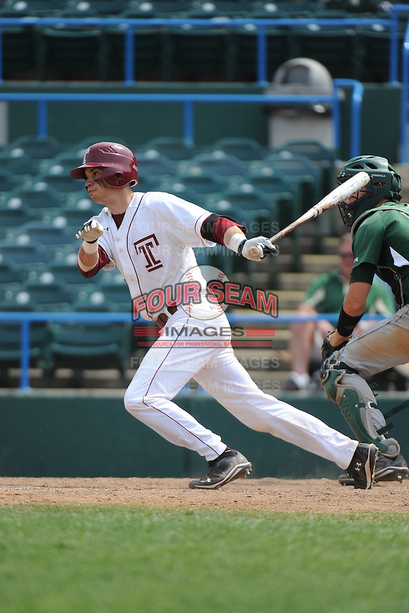 Temple University Owls catcher Andrew Nist (26) during a game against the University of South Florida Bulls at Campbell's Field on April 13, 2014 in Camden, New Jersey. USF defeated Temple 6-3.  (Tomasso DeRosa/ Four Seam Images)