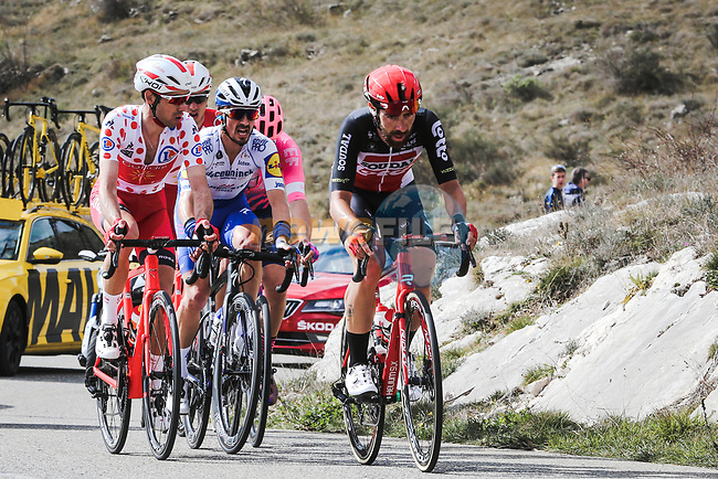 The breakaway featuring Thomas De Gendt (BEL) Lotto-Soudal, Polka Dot Jersey Nicolas Edet (FRA) Cofidis and Julian Alaphilippe (FRA) Deceunick-Quick Step during Stage 7 of the 78th edition of Paris-Nice 2020, running 166.5km from Nice to Valdeblore La Colmiane, France. 14th March 2020.<br /> Picture: ASO/Fabien Boukla | Cyclefile<br /> All photos usage must carry mandatory copyright credit (© Cyclefile | ASO/Fabien Boukla)