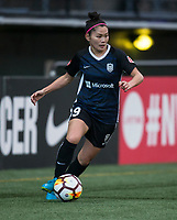 Seattle, WA - Saturday March 24, 2018: Nahomi Kawasumi during a regular season National Women's Soccer League (NWSL) match between the Seattle Reign FC and the Washington Spirit at the UW Medicine Pitch at Memorial Stadium.