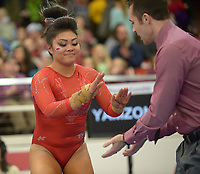 NWA Democrat-Gazette/ANDY SHUPE<br />Arkansas' Jessica Yamzon celebrates after competing Friday, Jan. 12, 2018, in the vault portion of the 11th-ranked Razorbacks' meet with sixth-ranked Kentucky in Barnhill Arena in Fayetteville. Visit nwadg.com/photos to see more photographs from the meet.
