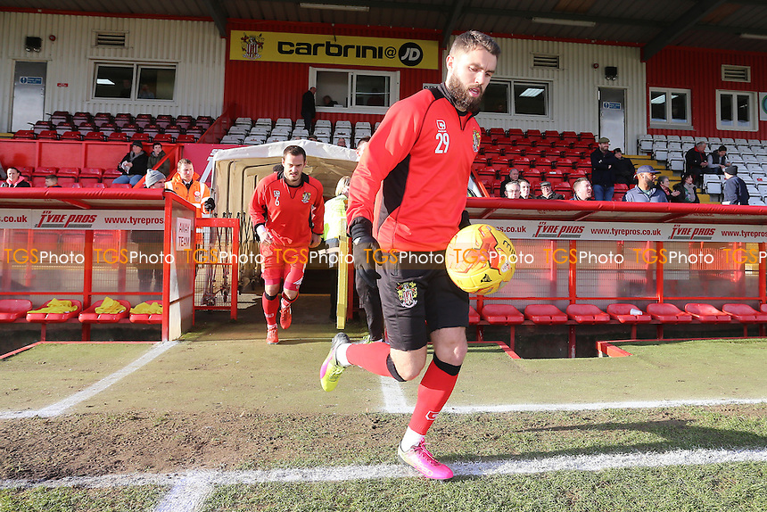 The Stevenage players come out to warm up during Stevenage vs Grimsby Town, Sky Bet EFL League 2 Football at the Lamex Stadium on 28th January 2017