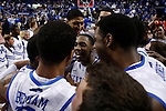 The University of Kentucky team celebrates after the basketball game against the University of Georgia, at Rupp Arena, on March 1, 2012. UK won 79-49. It was the final home game of the season. Photo by Latara Appleby | Staff ..