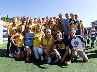 California swimmers and fans pose together for group photo before the game between California and Ohio State at Memorial Stadium in Berkeley, California on September 14th, 2013.  Ohio State defeated California, 52-34.