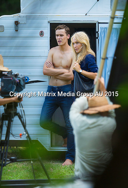 16 JANUARY 2015 SYDNEY AUSTRALIA<br /> <br /> EXCLUSIVE PICTURES<br /> <br /> Erika Heynatz pictured making her TV soap debut on set of Home &amp; Away. Erika shot her first raunchy scenes for the soap in which she has been cast as a teacher at Summer Bay High. She is pictured here in a somewhat raunchy scene as she exists a caravan.