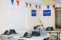 Zoila Oliva, 76, of Hialeah, calls potential voters at the Donald Trump campaign office in Hialeah, Miami, Florida, on Sun., Oct. 9, 2016.  Oliva said she is concerned about the future, especially potential Supreme Court nominations. She has been volunteering for the campaign for about a month. She has been a citizen for 40 years and has always voted Republican.