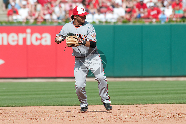 30 May 2011                             San Francisco Giants shortstop Brandon Crawford (35) throws to first base. The San Francisco Giants defeated the St. Louis Cardinals 7-3 on Monday May 30, 2011 in the first game of a four-game series at Busch Stadium in downtown St. Louis.