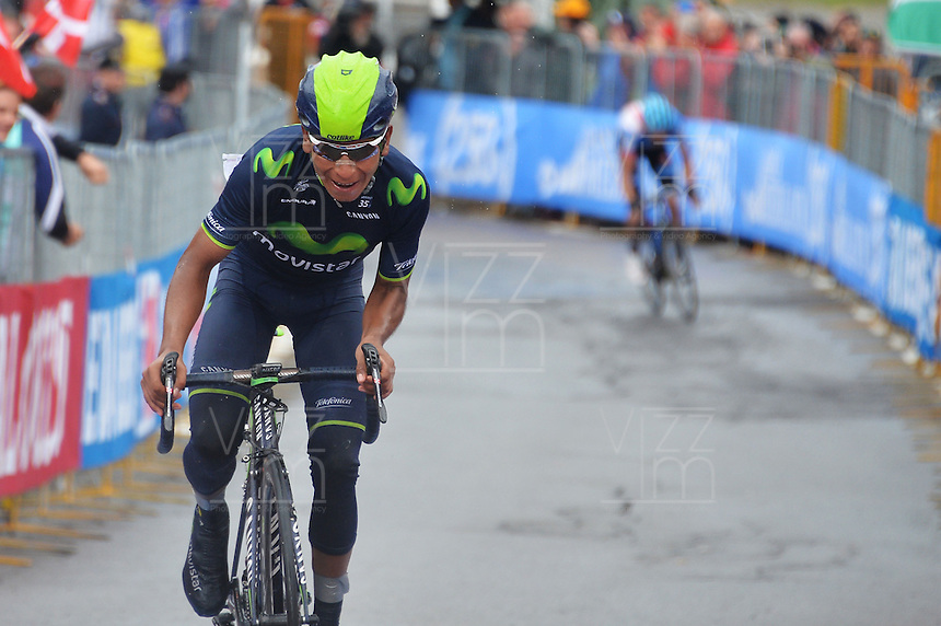 ITALIA - 27-05-2014. Nairo Quintana ciclista colombiano del equipo Movistar durante etapa 16 Ponte di Legno y Val Martello sobre 139 kilómetros, y se ha apuntado la victoria en la cima de Val Martello en la versión 97 del Giro de Italia / Nairo Quintana Colombian cyclist Movistar Team during the stage 16 Ponte di Legno and Val Martello about 139 kilometers, and has registered the win on top of Val Martello in version 97 of the Giro d'Italia.    Photo: VizzorImage/ Gian Mattia D'Alberto / LaPresse……….VizzorImage PROVIDES THE ACCESS TO THIS PHOTOGRAPH ONLY AS A PRESS AND EDITORIAL SERVICE AND NOT IS THE OWNER OF COPYRIGHT; ANOTHER USE HAVE ADDITIONAL PERMITS AND IS  REPONSABILITY OF THE END USER