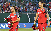 Portland, OR - Wednesday June 28, 2017: Hayley Raso, Christine Sinclair during a regular season National Women's Soccer League (NWSL) match between the Portland Thorns FC and FC Kansas City at Providence Park.