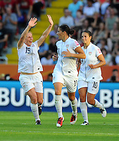 Rachel Buehler (l) of team USA celebrates during the FIFA Women's World Cup at the FIFA Stadium in Dresden, Germany on June 28th, 2011.
