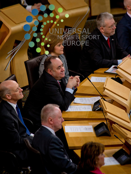 Malawi president, Joyce Banda, is welcomed by Alec Salmond on an official state visit to the Scottish Parliament, coinciding with David Livingstone's birthday anniversary...Pictured: Alex Salmond, First Minister..Malcolm McCurrach (Universal News and Sport) - 19/03/2013