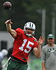 Josh McCown #15, quarterback, throws a pass during New York Jets Training Camp at the Atlantic Health Jets Training Center in Florham Park, NJ on Monday, Aug. 14, 2017.